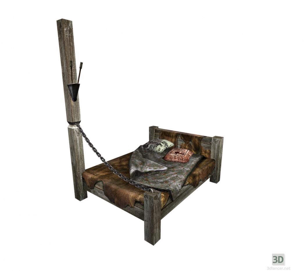 3d модель Кровать деревянная – превью