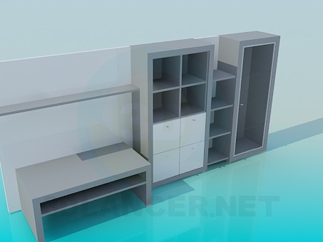 3d modeling Closet-wall with desk model free download