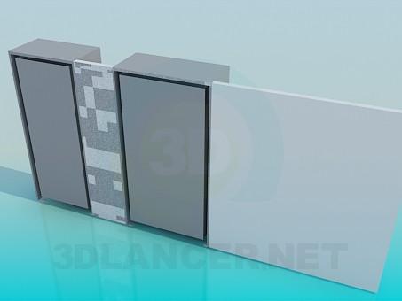 modelo 3D Armario de pared con escritorio - escuchar