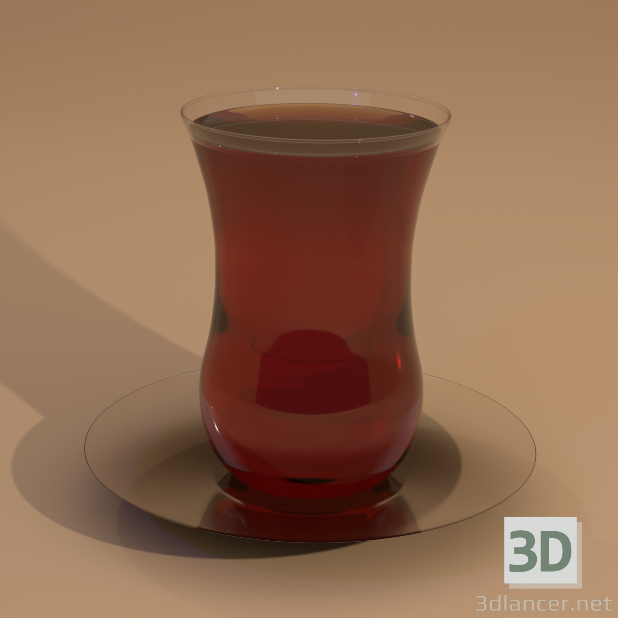 3d Glass turkish cup mess with saucer model buy - render
