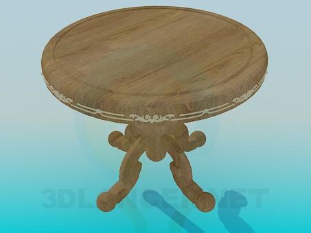 3d моделирование Круглый деревянный столик модель скачать бесплатно