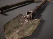 Old folding shovel pbr Low-poly 3D model