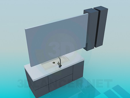 modelo 3D Lavabo mueble - escuchar