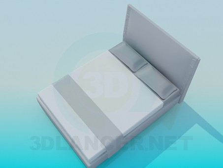 3d model Double bed with high headboard - preview