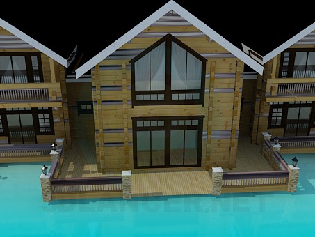 3d model Cottage with log - preview