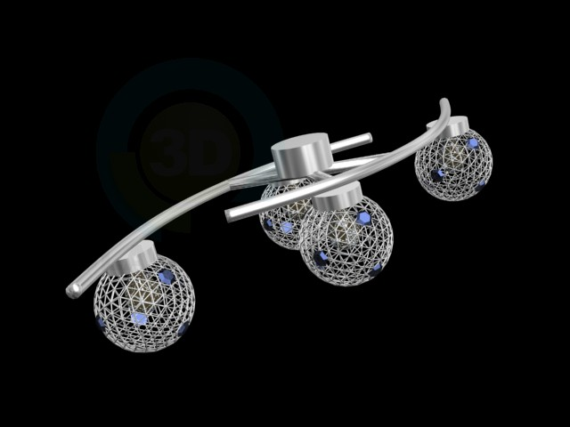 3d model Chandelier ceiling with four shades - preview