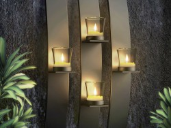 Metal Modern Art Wall Mount Candle Votive Holder Sconce Set