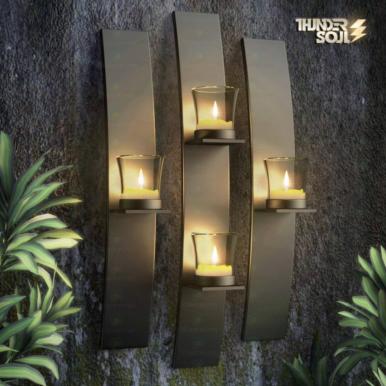 3 डी मॉडल धातु आधुनिक कला दीवार माउंट मोमबत्ती मन्नत धारक मस्तक सेट - पूर्वावलोकन