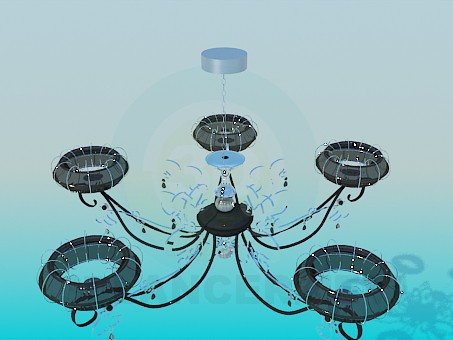 3d model Modern chandelier with ceiling as ring - preview