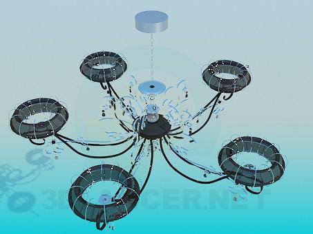 3d модель Современная люстра с кольцевыми плафонами – превью