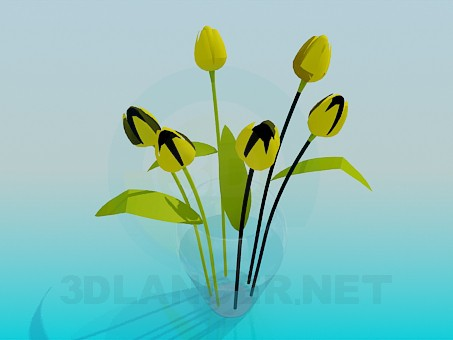 3d modeling Yellow tulips in a vase model free download