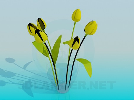 3d model Yellow tulips in a vase - preview