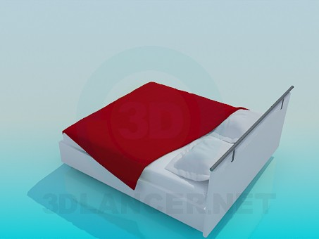 3d model Bed with a coverlet - preview