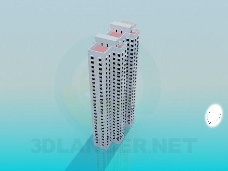 3d model Multistorey apartment house - preview
