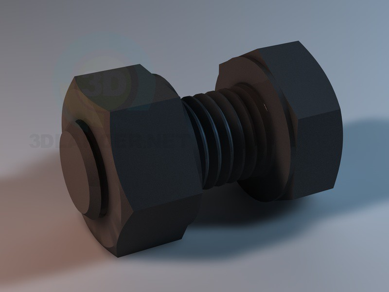 3d model Screw M10 with nut - preview