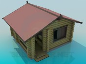 Una casa con troncos de pino