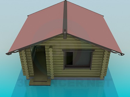 3d model A house with pine logs - preview