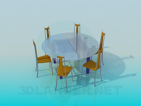 3d modeling Round glass dining table and 6 chairs model free download