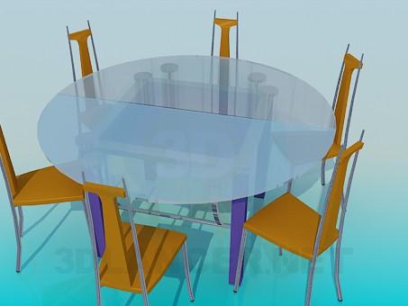 3d модель Круглий скляний стіл і 6 стільців – превью