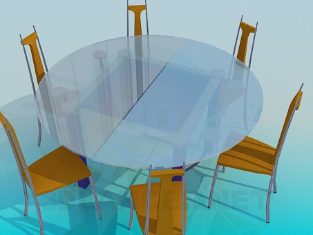 3d model Round glass dining table and 6 chairs - preview