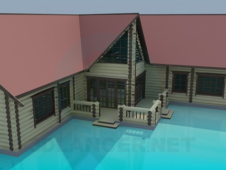 3d model Cottage log cabin - preview
