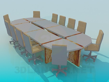 3d modeling Table for conferences model free download