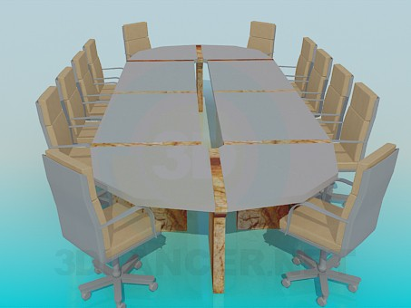 3d model Table for conferences - preview