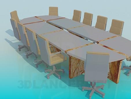 modelo 3D Mesa para conferencias - escuchar