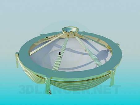 3d modeling Chandelier with golden decoration of the dome model free download