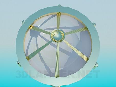 3d модель Люстра купол із золотистим прикрасою – превью
