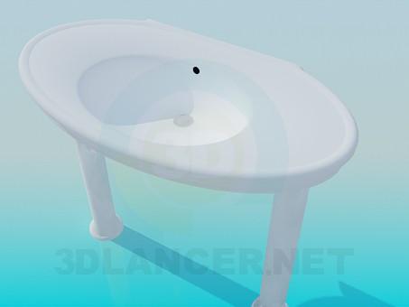 3d модель Умивальник на колонах – превью