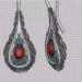 3d feather earrings model buy - render