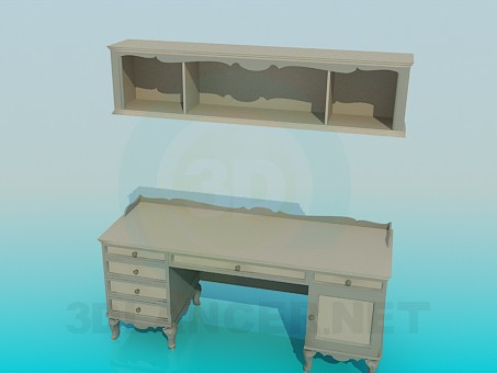 3d modeling Desk and shelf in the set model free download