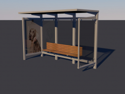Bus stop Low-poly 3D model