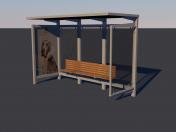 Bus stop Low-poly 3D model