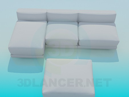 3d modeling Sofa with ottoman model free download