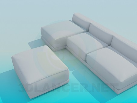 3d model Sofa with ottoman - preview