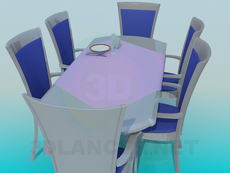 3d model Dining table with chairs - preview