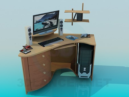3d model Desk with computer hardware - preview