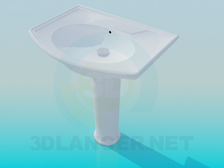 3d model Wash basin on the stem - preview