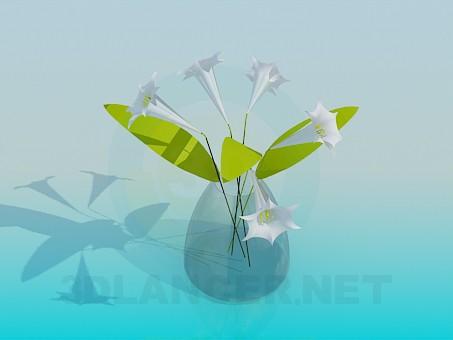 modelo 3D Florero con flores - escuchar