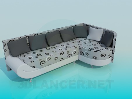 3d model Corner sofa with pillows - preview