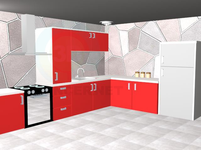 3d model Red kitchen - preview