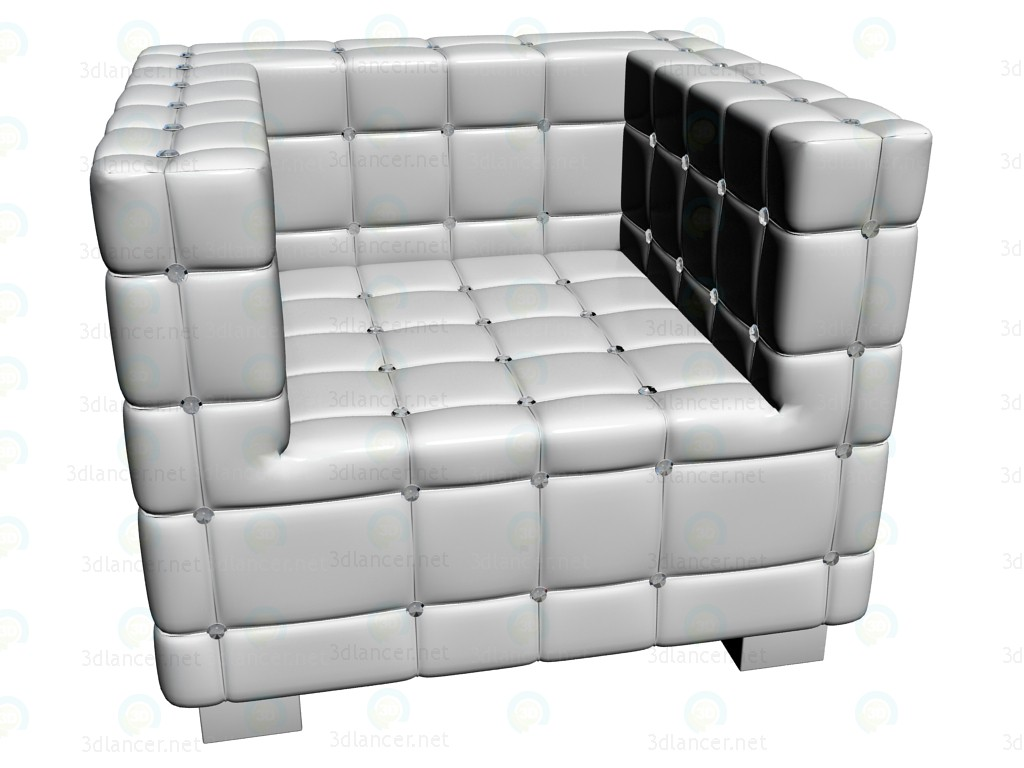 3d model Armchair Shining Cube White - preview