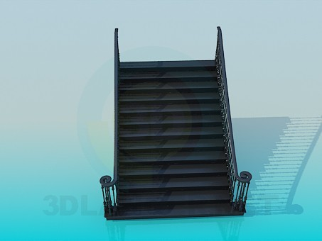 3d modeling Direct wide staircase model free download