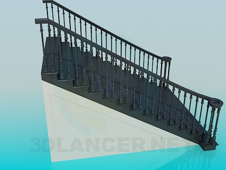 3d model Direct wide staircase - preview