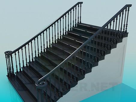 3d модель Пряма широкі сходи – превью