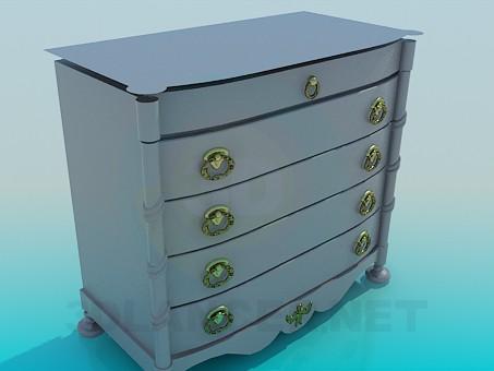3d модель Тумба с выдвижными ящиками – превью