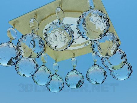3d model Mirror chandelier with glass balls - preview