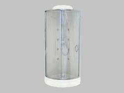 Corner shower enclosure with filling